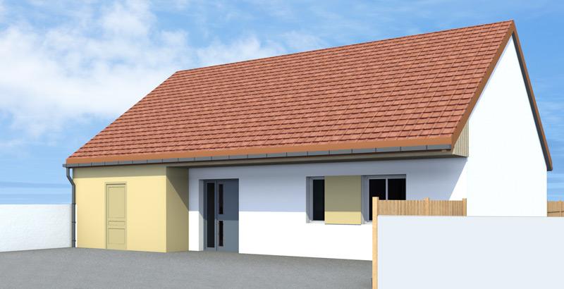 Maison traditionnelle, toit à deux pans